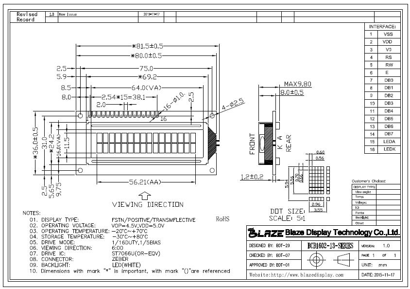 BCB1602-13 - Blaze Display Technology Co., Ltd. on